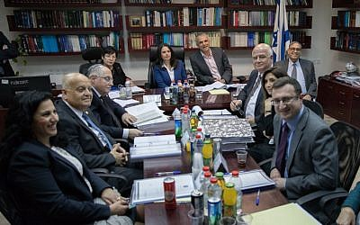 Justice Minister Ayelet Shaked seen with Supreme Court president Miriam Naor, Finance Minister Moshe Kahlon and members of the Israeli Judicial Selection Committee at a meeting of the Israeli Judicial Selection Committee at the Ministry of Justice in Jerusalem on February 22, 2017. (Yonatan Sindel/Flash 90)