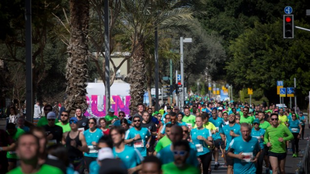 Runners take part in a marathon in Israel's coastal city of Tel Aviv on February 24, 2017. (Miriam Alster/Flash 90)