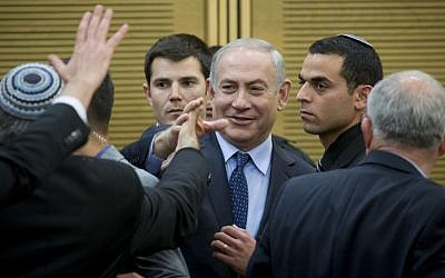 Prime Minister Benjamin Netanyahu arrives at a Likud faction meeting in the Knesset, February 27, 2017. (Yonatan Sindel/Flash90)