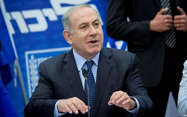 Prime Minister Benjamin Netanyahu leads a Likud faction meeting at the Knesset on February 27, 2017. (Yonatan Sindel/Flash90)