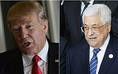 US President Donald Trump on February 3, 2017 (L); Palestinian Authority President Mahmoud Abbas on January 30, 2017 (Mandel Ngan/AFP; Zacharias Abubeker/AFP)