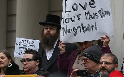 Alexander Rapaport, rear left, attending a protest at New York City Hall after presidential candidate Donald Trump called for a ban on Muslims entering the US, Dec. 9, 2015. (Cem Ozdel/Anadolu Agency/Getty Images)