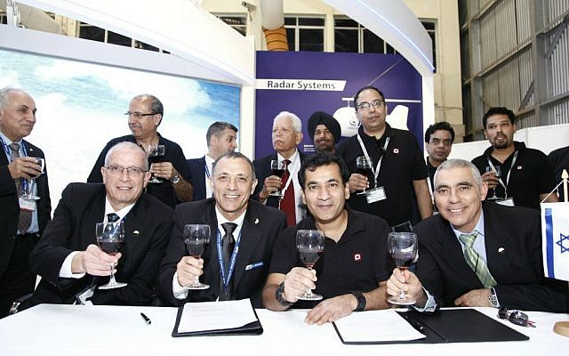 From right to left: Joseph Weiss, president and CEO of IAI, Shaul Shahar, IAI EVP and General Manager of IAI's Military Aircraft Group, Udayant Malhoutra, CEO & Managing Director Dynamatic Technologies Ltd, Eli Alfassi IAI's Executive VP Marketing (Courtesy)