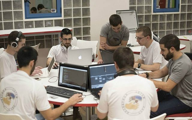 IDF soldiers in plain clothes take part in army's chatbot hackathon, 14 Feb. 2017 (Courtesy IDF)
