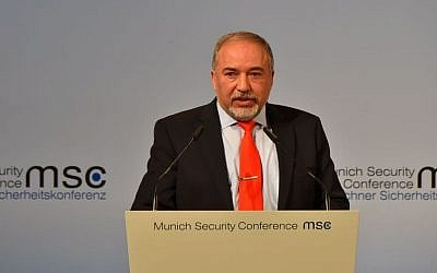 Defense Minister Avigdor Liberman speaks at the Munich Security Conference on February 19, 2017. (Ariel Hermoni/Defense Ministry)
