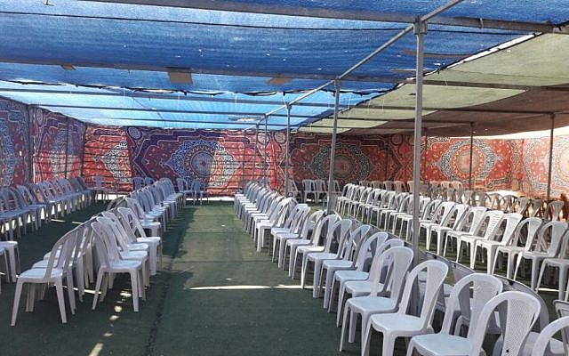 A marquee tent where the Democratic Front for the Liberation of Palestine planned to hold an illegal rally supporting terror, February 21, 2017. (Police spokesperson)