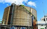 The ammonia storage tank in the northern city of Haifa. (Courtesy of Environmental Protection Ministry)