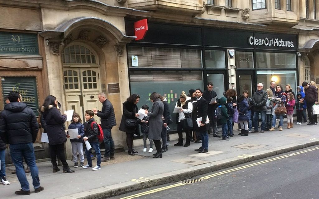 Parents and children lining up in central London to audition for the leading role in Steven Spielberg's latest feature, 'The Kidnapping of Edgardo Mortara.' (Jenni Frazer/Times of Israel)
