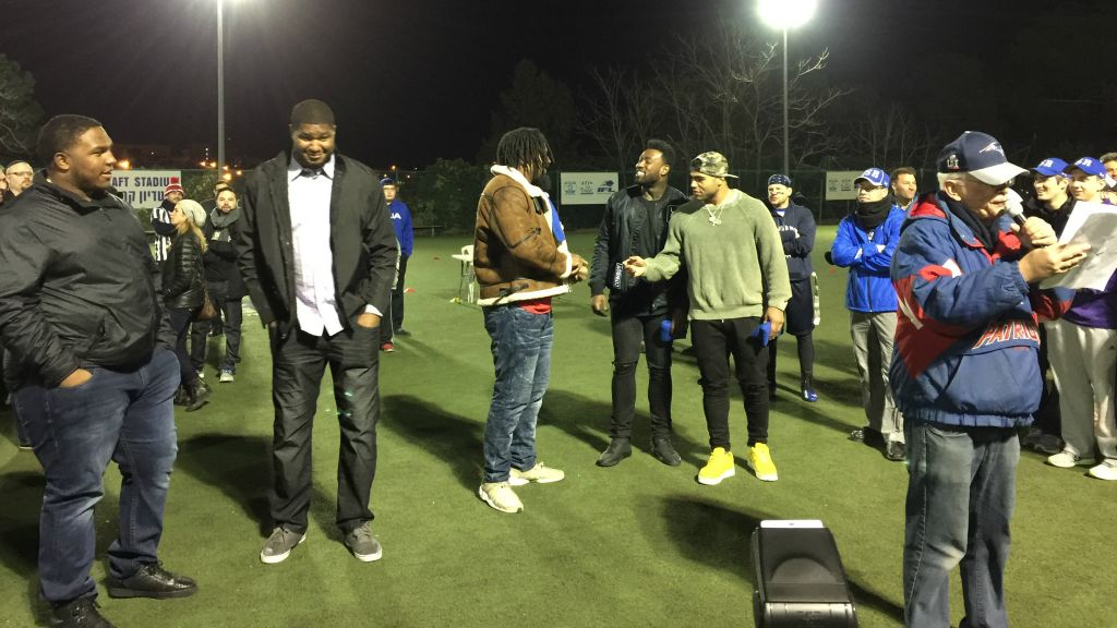 Fans swarm nfl players at jerusalem meet and greet the times of israel the five nfl players who came to israel visited briefly at jerusalems kraft stadium saturday night m4hsunfo