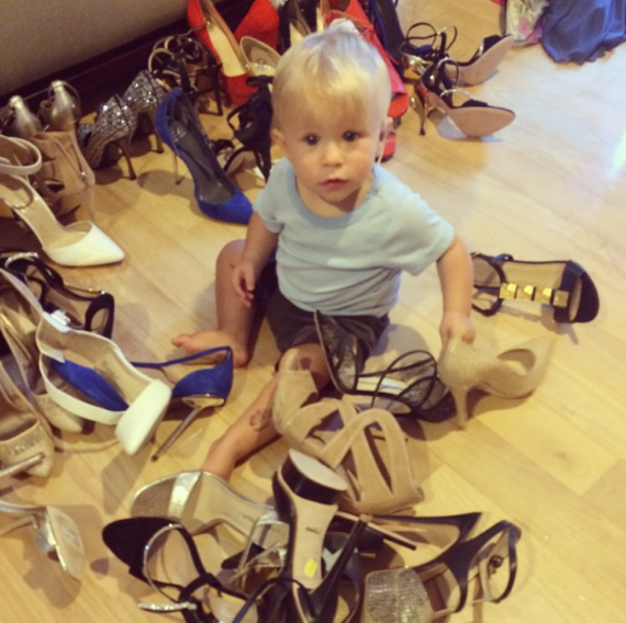 Asher gives his opinion on some shoes for stylist Adena Rohatiner. (Courtesy)