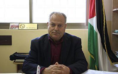 Silwad Mayor Abdul Rahman Abu Saleh (Dov Lieber/Times of Israel)