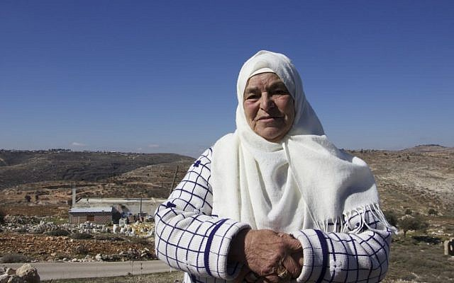 Mariam Hammad, 83, a resident of Silwad who owns land that was taken by Israelis to build the outpost of Amona, November 2016 (Dov Lieber / Times of Israel)