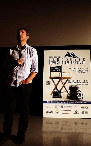 Igal Hecht standing at the Vancouver Jewish Film Festival last November during the screening of his film, 'My Home.' (Nathan Swartsman)
