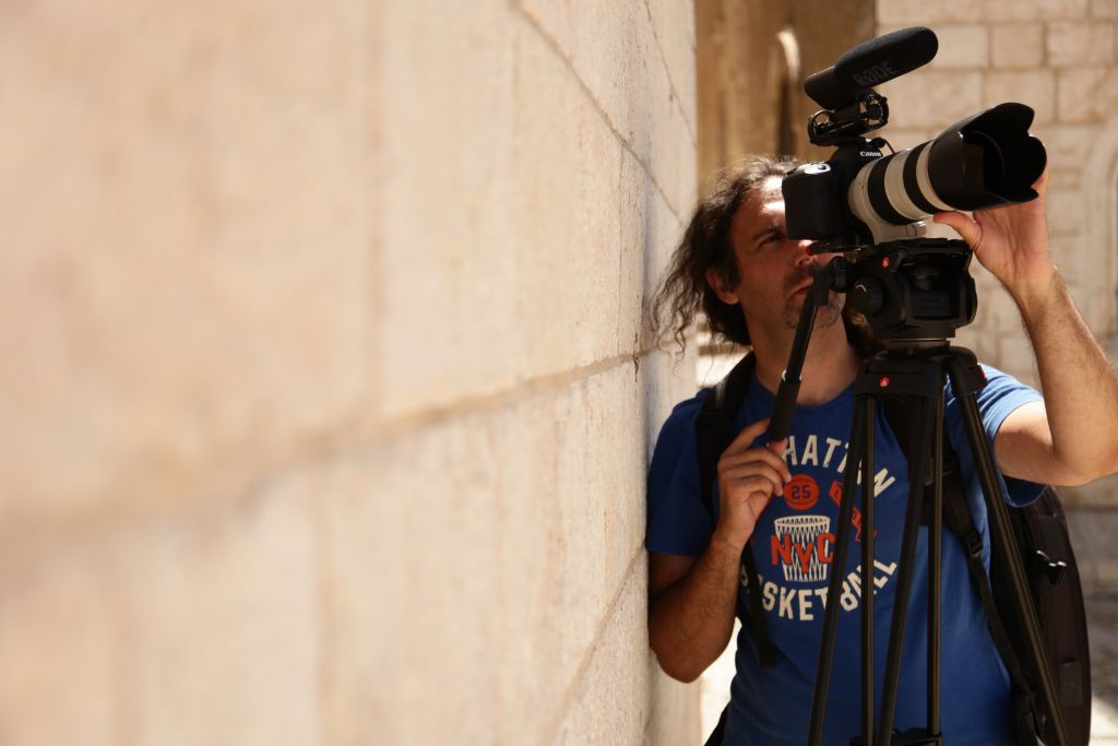 Igal Hecht filming 'A Universal Language' in Jerusalem in 2013. (Photo by Elad Winkler)