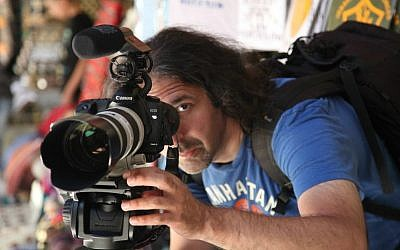 Igal Hecht shooting his 2013 film 'A Universal Language' in Jerusalem. (Courtesy)
