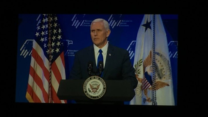 Vice President Mike Pence addresses the Republican Jewish Coalition on Feb. 24 2017 (Ron Kampeas / JTA)
