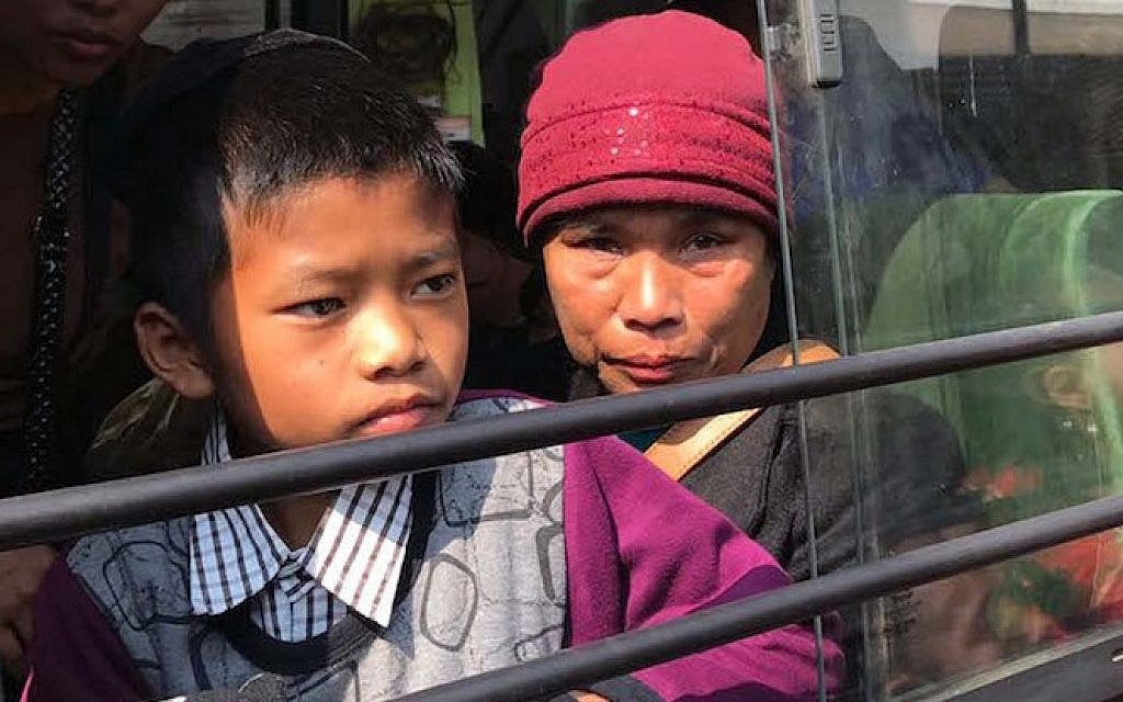 "Members of the ""Bnei Menashe"" Jewish community in Aizawl, the capital of Mizoram, India, on their way to the airport, February 12, 2017. (Shavei Israel)"