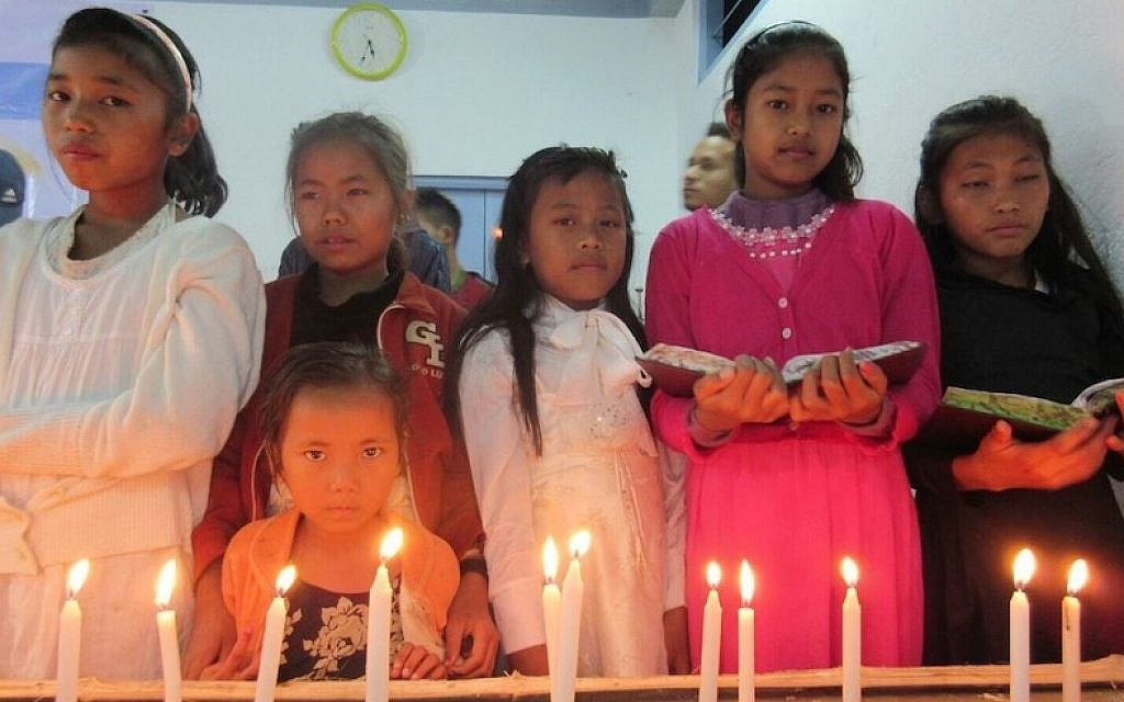 Members of the Bnei Menashe Jewish community from across northeastern India gathering in Churachandpur, in the Indian state of Manipur to celebrate Hanukkah, December 8, 2015. (Shavei Israel)