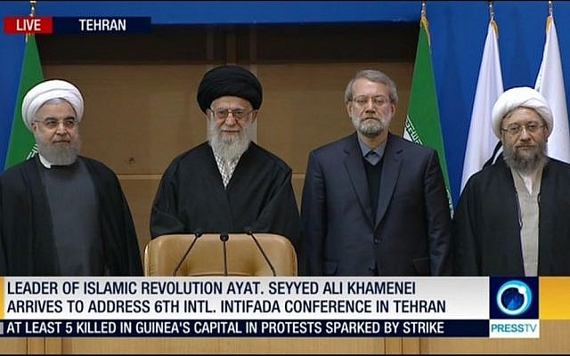 From left: Iranian President Hassan Rouhani, Supreme Leader Ali Khamenei, Speaker of Iran's Parliament Ali Larijani and Iranian Judicial head Ayatollah Sadegh Larijani attend a 2017 Conference in Support of the Palestinian Intifada (Screen capture: Mehr News Agency)