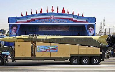 In this Sept. 21, 2016 file photo, an Emad long-range ballistic surface-to-surface missile is displayed by the Iranian Revolutionary Guard during a military parade, in front of the shrine of late revolutionary founder Ayatollah Khomeini, just outside Tehran, Iran. (AP Photo/Ebrahim Noroozi, File)