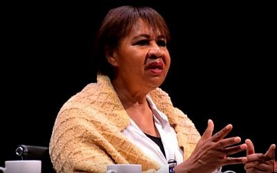Screen capture of author Jamaica Kincaid who in was named as a winner of the Dan David Prize in February 2017. (screen capture: Chicago Humanities Festival/YouTube)