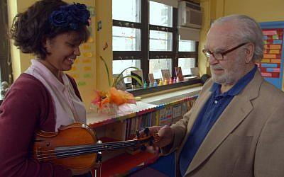 Joe Feingold and Brianna Perez in the Oscar-nominated short documentary 'Joe's Violin.' (Screenshot via JTA)