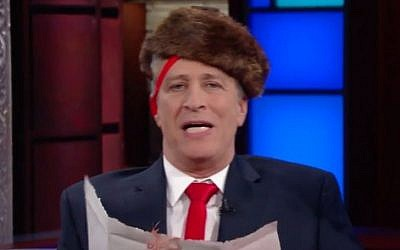 Jon Stewart appearing on the 'Late Show' dressed as US President Donald Trump, January 31, 2017. (screen capture: The Late Show with Stephen Colbert/YouTube)