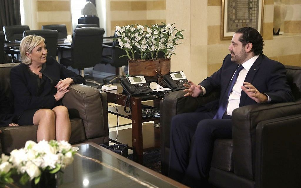 Lebanese prime minister Saad Hariri, right, meets with French far right leader and presidential candidate Marine Le Pen, left, at the government palace, in Beirut, Lebanon, Monday, February 20, 2017. (AP/Hussein Malla)