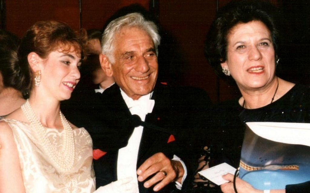 Leonard Bernstein and daughter, left, with Lilian Hochhauser. (Courtesy)