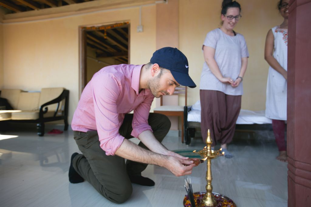 Daniel Bacall, Director of External Affairs at the office of the Chief Rabbi takes part in a ceremony to mark the opening of a new base of operations for the Gabriel Project Mumbai in Ashte. (Courtesy)
