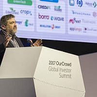 OurCrowd's Jon Medved speaks at the OurCrowd Global Summit, February 16, 2017 (Yosef Adest)