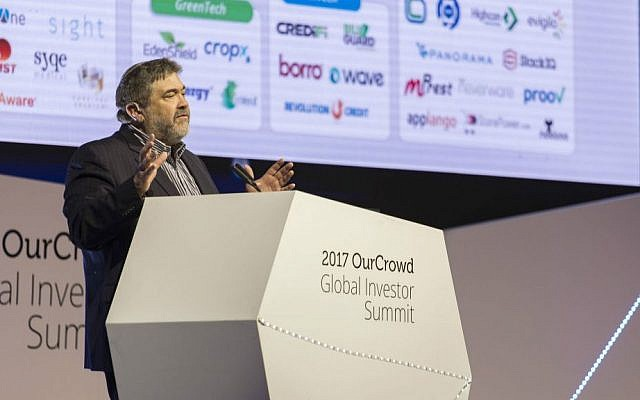 OurCrowd's Jon Medved speaks at the OurCrowd Global Summit Feb. 16, 2017 (Yosef Adest)