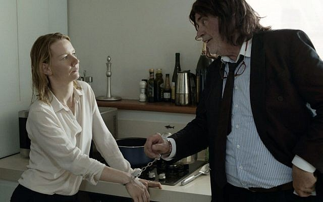 """This image released by Sony Pictures Classics shows Sandra Huller as Ines, left, and Peter Simonischek as Winfried in a scene from the Komplizen Film, """"Toni Erdmann."""" (Sony Pictures Classics via AP)"""