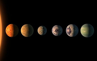 An artist's illustration of what TRAPPIST-1's seven planets might look like. (NASA/JPL-Caltech)