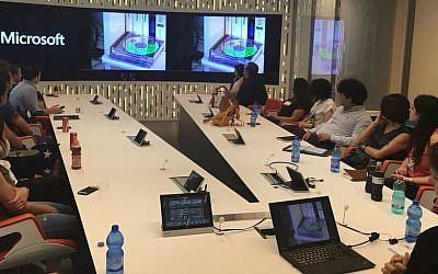 Interns from the Palestinian Internship Program (PIP) on a visit to Microsoft R&D center in Herzliya on July 20, 2016.  (Courtesy)