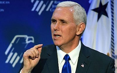 US Vice President Mike Pence speaks during the Republican Jewish Coalition's annual leadership meeting at The Venetian Las Vegas on February 24, 2017 in Las Vegas, Nevada. (Ethan Miller/Getty Images via JTA)