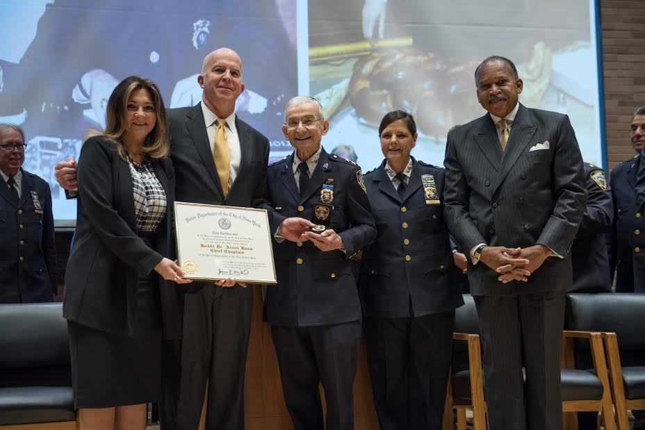 Pictured, from left: Deputy Commissioner Cathleen Perez, Police Commissioner James O'Neill, Rabbi Alvin Kass, Chief Diana Pizzuti, First Deputy Commissioner Benjamin Tucker. (Courtesy Lt. Steven A. Jerome)