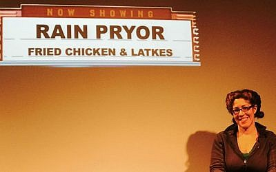 Rain Pryor on the set of her one-woman show, 'Fried Chicken and Latkes.' (Courtesy)
