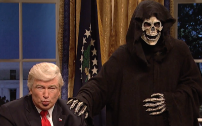 Alec Baldwin, left, playing President Donald Trump in a 'Saturday Night Live' sketch that aired February 4, 2017. (Screenshot from YouTube)