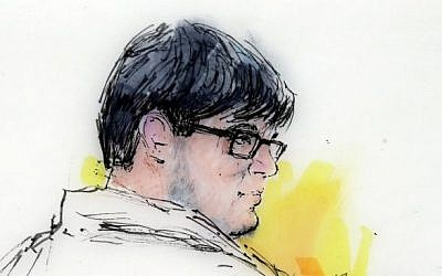 This Dec. 21, 2015 courtroom file sketch shows Enrique Marquez Jr. in federal court in Riverside, Calif. Marquez, a longtime friend of Syed Rizwan Farook, the male shooter in the San Bernardino terrorist attack, has agreed to plead guilty to conspiring with Farook in 2011 and 2012 to provide material support to terrorists. (Bill Robles via AP, File)