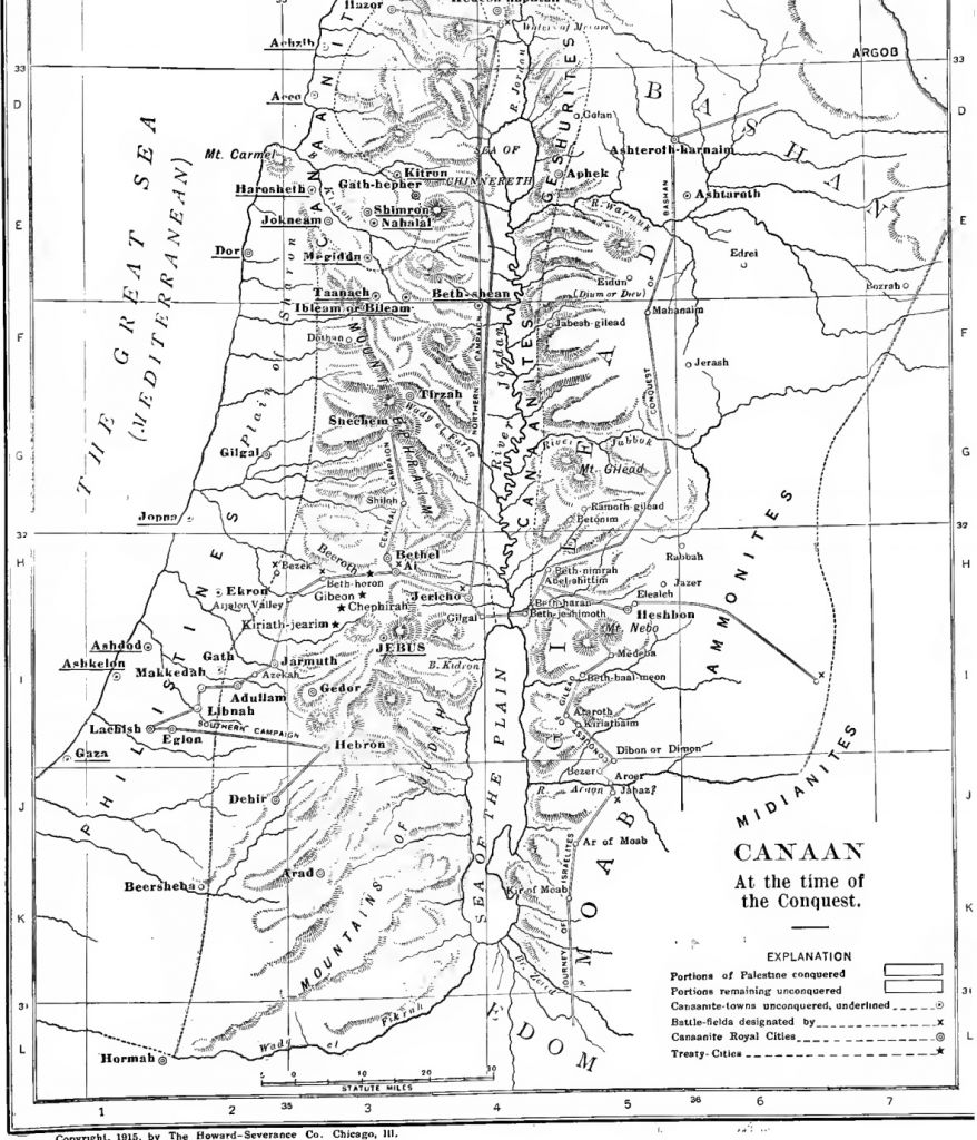 Atlas of the land of Canaan during the Israelite conquest from The International Standard Bible Encyclopedia (public domain via Wikimedia Commons)