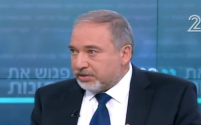 File: Defense Minister Avigdor Liberman, interviewed on Channel 2, February 11, 2017 (Channel 2 screenshot)