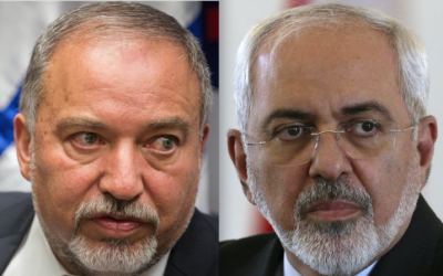 Defense Minister Avigdor Liberman (left) and Iranian Foreign Minister Mohammad Javad Zarif (Flash90 and AP)