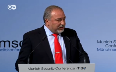 Defense Minister Avigdor Liberman speaks at the Munich Security Conference on February 19, 2017. (Screen capture)