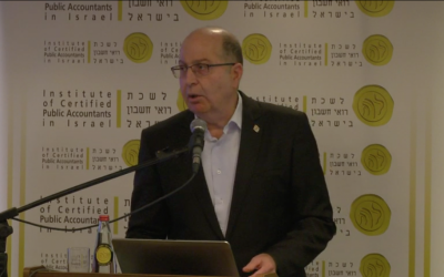 Defense Minister Moshe Ya'alon delivers a speech on Monday, February 21, 2017 (screen capture)