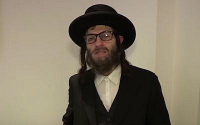 Simon Brodkin dressed as a haredi Orthodox rabbi for an audition for 'Britain's Got Talent.' (Screenshot from YouTube/via JTA)