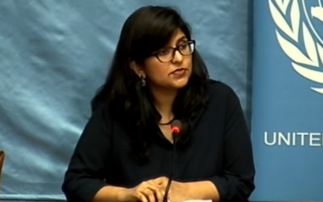 Ravina Shamdasani, spokesperson for the UN Office of the High Commissioner for Human Rights, at a press conference in Geneva, February 24, 2017 (UN screenshot).