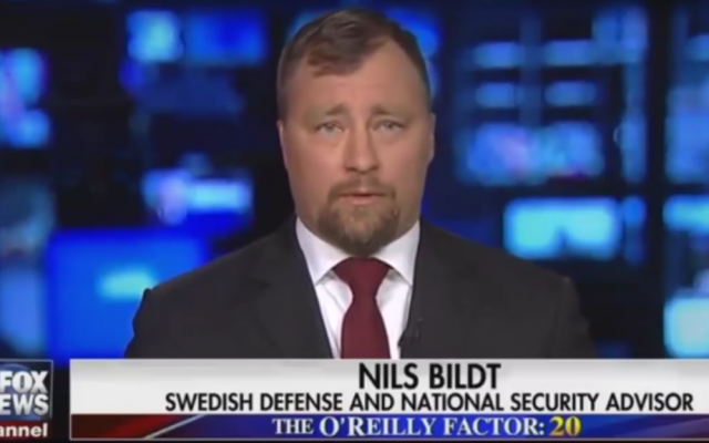 Nils Bildt appears on the Fox News Channel program 'The O'Reilly Factor,' on February 23, 2017. He was presented as a Swedish official, but is in fact an independent analyst. (Screen capture: Fox News)