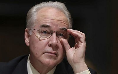Health and Human Services Secretary-designate, Rep. Tom Price, R-Ga. pauses while testifying on Capitol Hill in Washington at his confirmation hearing before the Senate Finance Committee, Jan. 24, 2017. (AP Photo/Andrew Harnik)