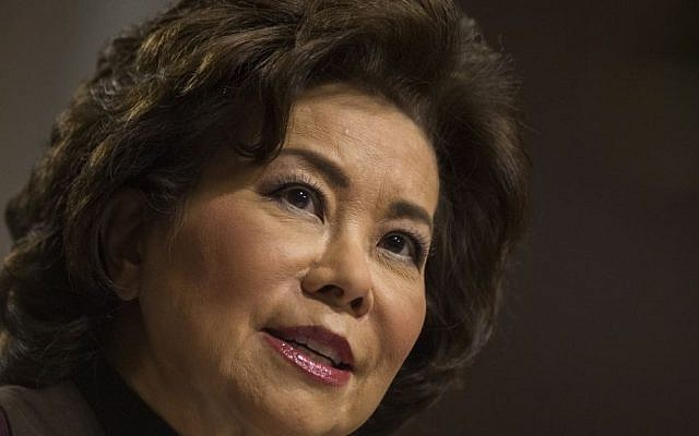 Transportation Secretary-designate Elaine Chao testifies on Capitol Hill in Washington, at her confirmation hearing before the Senate Commerce, Science, and Transportation Committee, Wednesday, Jan. 11, 2017. (AP Photo/Zach Gibson, File)